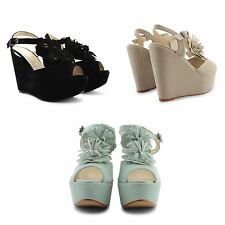 NEW LADIES WOMENS HIGH HEEL WEDGES PEEP TOE PLATFORM SLINGBACK SUMMER SANDALS UK