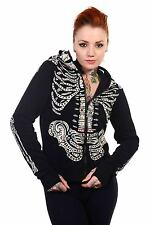 Sugar Candy Skull Full Face Zip Up Skeleton Punk Gothic Hoodie By Banned Apparel