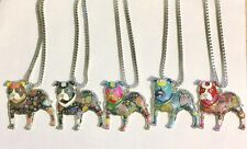 Staffordshire Bull Terrier Pendants, Patchwork Enamel, Statement Unique Necklace