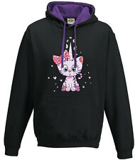Capuche sweat-shirt à capuche Pull Femmes mauve violet Kittykorn Caticorn Chat