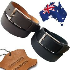 Genuine Leather Men's Textured Formal Wedding Suit Belt  Black & Brown RRP$49.95