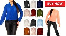 Women's Sexy V-neck Chiffon Tops Long Sleeve Casual Blouse Loose T-shirt wrkL