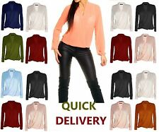 Ladies Womens Chiffon Long Sleeve Blouse V Neck T Shirt Wrap Front Work Top wrkL