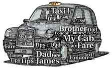 LUXURY TAXI Personalised word art picture with frame and mount
