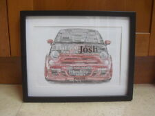 LUXURY RED FIAT 500 personalised word art picture with frame and mount