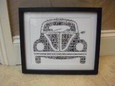 LUXURY VW BEETLE Personalised word art picture with frame and mount