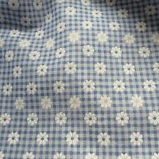 Printed Daisy Gingham Blue 115cm fabric material poly cotton sold by the metre
