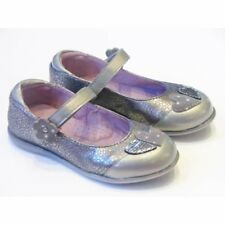 Sale   Girls Lea Lelo Dark Silver Patent Leather Shoes With Heart Detail