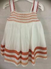 Branded Cotton Blend White Smock Layered Baby Girl Dress & Matching Pants