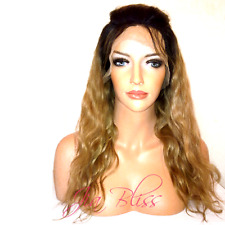 Lace Front Wig Two Tone Ombre Blonde Body Wave Remy #1B Roots #27 Human Hair UK