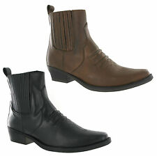 Gringos Pull On Western Boots Leather Mens Ankle Gusset Cowboy Pointed UK6-12