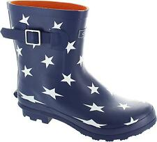 Cotswold Badminton Women's Navy Star Print Pull On Rubber Wellington Boots New