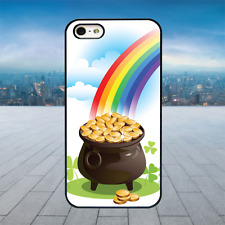 Irish Pot of Gold Rainbow Black Rubber Phone Case Cover Fits Iphone Models