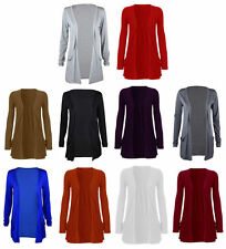 Ladies Plus Size Open Boyfriend Drop Pocket Cardigan Womens Top