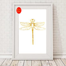 Dragonfly insect creature Gold Foil Print Vintage Foil Rose Gold Wall Art
