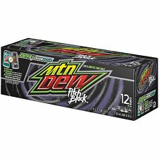 Original Pack of 12 Cans Mountain Dew Pitch Black American Soft Fizzy Drink Soda