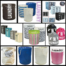 LARGE LAUNDRY WASHING BASKET CLOTHES STORAGE HAMPER ROUND BIN ORGANIZER BAGS