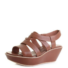 Womens Camper Damas Brown Leather Platform Wedge Sandals Size