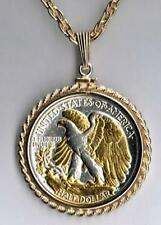 Walking Liberty (reverse) Half Dollar Silver & 24k Gold Plated Coin Necklace #2