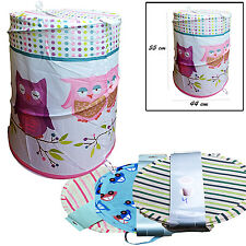 LAUNDRY BAG POP UP COTTON WASHING FOLDABLE LAUNDRY BASKET BAG BIN HAMPER STORAGE