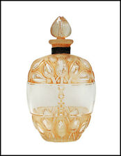 Rene LALIQUE Glass Perfume Bottle Signed Jaytho Etched Flower Antique Stopper