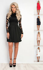Women's Ladies Stunning Lace Party Glam Skater Dress