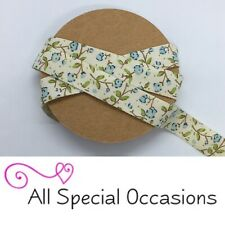 Beautiful 15mm Natural Ivory & Blue Cath Kidtson Style Rose Flower Ribbon
