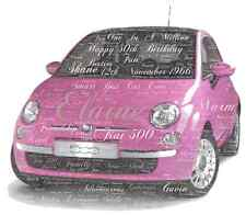 LUXURY pink FIAT 500 personalised word art picture with frame and mount