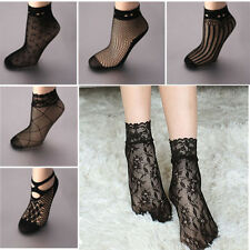 Sexy Women Lady Soft Black Lace Ruffle Fishnet Short Ankle Socks