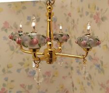Dollhouse Miniature Shabby Chic Pink Roses Crystal 4 Arm Chandelier Light Lamp