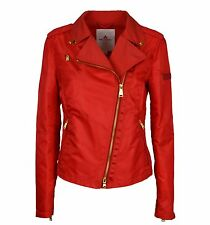 PEUTEREY donna giacca chiodo nylon rosso CHARLA BMAT 124