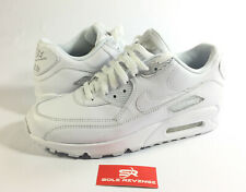 New Men's Nike Air Max 90 Leather Running Shoes Triple White 95 302519-113 f1