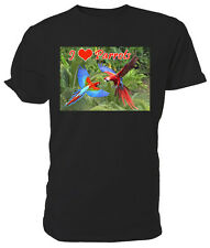 I Love Parrots T shirt, short sleeve round neck, Choice of size & colours,