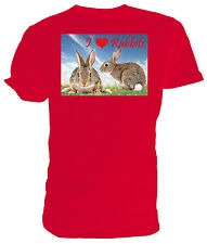 I Love Rabbits T shirt, short sleeve round neck, Choice of size & colours,