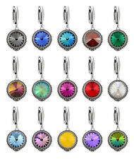 Sterling Silver Rivoli Safety Earrings made with 1122 12mm Swarovski® Crystals