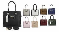 Ladies Women Faux Leather Office Tote Plain Bow Bag Party Shoulder Bag Handbag