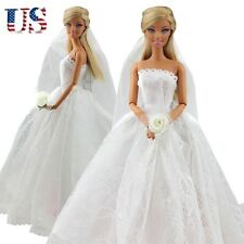 Fashion Wedding Dress Bridal Veil Princess Gown Clothes Outfit For Barbie Dolls