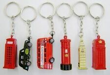 Set of 6 Die Cast Metal London City Keyrings, London Taxi, London Bus, Big Ben,
