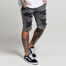 Sik Silk Distressed Denim Shorts Grey Snow Wash - FREE NEXT DAY DELIVERY