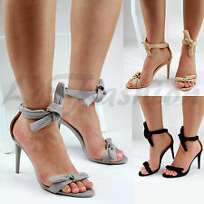 New Womens Stiletto High Heel Sandals Ankle Tie Up Peep Toe Party Evening Shoes