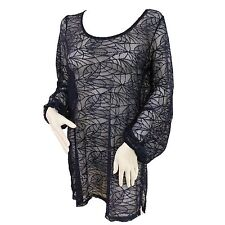 Ladies Full Lace Effect Polyester Beach Cover Up Holiday Top Navy Long Sleeve