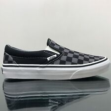 VANS CLASSIC SLIP ON BLACK PEWTER CHECKERBOARD CANVAS TRAINERS