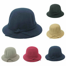 Ladies Fashion Vintage  Women Wool  Cloche Cap Fedora Bowler Dome Bow Hat