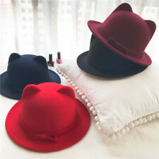 Fashion Womens Girl Cloche Cap Wool Round Bowler  Derby Bow with Cat Ear Hat