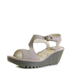Womens Fly London Yanca Cupido Concrete Grey Leather Wedge Heel Sandals Size