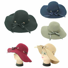 Fashion Women Wide Brim Felt Bowler  Fedora Ribbon Bow Hat Ladies Floppy Caps