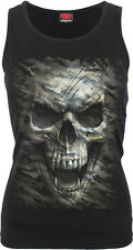 Spiral Direct CAMO-SKULL Razor Back Vest Top/Military/Horror/Goth/Rock/Metal/Top