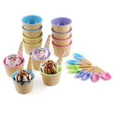 Helado de Sundae plato Bowl con cuchara Kids Summer Party Copa de Postre Cono
