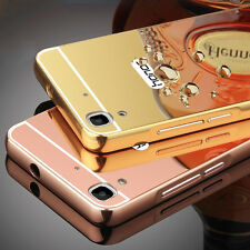 Aluminum Metal Bumper with PU Mirror Back Cover Case For HUAWEI HONOR HOLLY 3