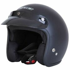 Spada Open Face Motorcycle Motorbike Double D Peak Approved Helmet - Matt Black